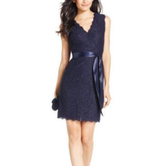 567b4286 Adrianna Papell Dresses   Navy Blue Sheath Lace Overlay 8 10   Poshmark